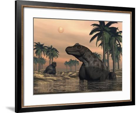 Keratocephalus Dinosaurs in a Small Lake at Sunset-Stocktrek Images-Framed Art Print