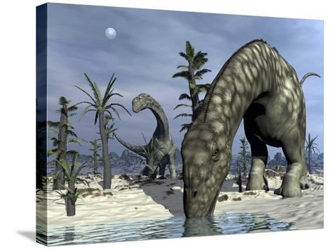 Argentinosaurus Dinosaurs Grazing in the Desert-Stocktrek Images-Stretched Canvas Print