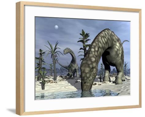 Argentinosaurus Dinosaurs Grazing in the Desert-Stocktrek Images-Framed Art Print