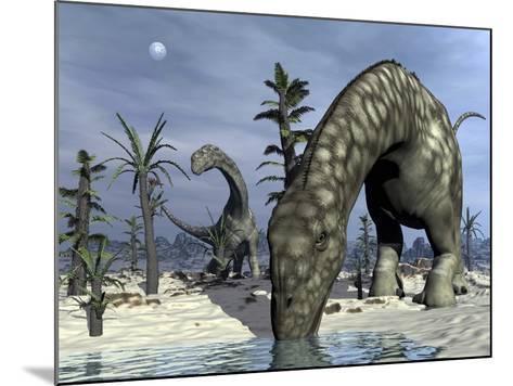 Argentinosaurus Dinosaurs Grazing in the Desert-Stocktrek Images-Mounted Art Print