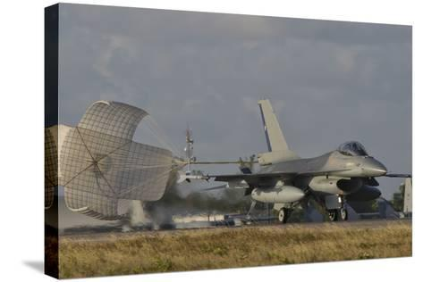 U.S. Air Force F-16 Fighting Falcon with Drag Chute Deployed-Stocktrek Images-Stretched Canvas Print