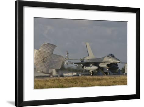 U.S. Air Force F-16 Fighting Falcon with Drag Chute Deployed-Stocktrek Images-Framed Art Print