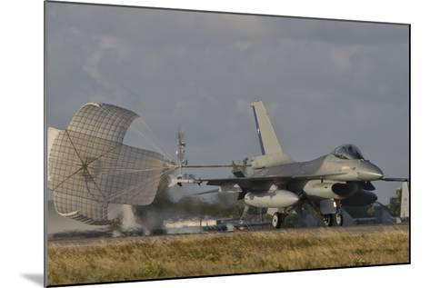 U.S. Air Force F-16 Fighting Falcon with Drag Chute Deployed-Stocktrek Images-Mounted Photographic Print
