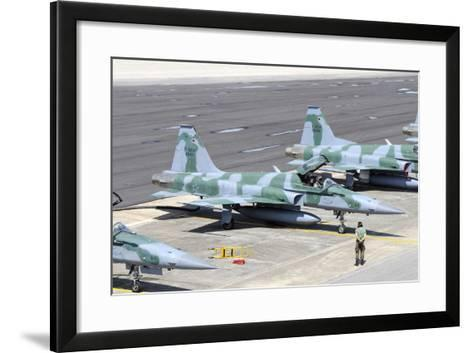 Line-Up of Brazilian Air Force F-5Em at Natal Air Force Base, Brazil-Stocktrek Images-Framed Art Print