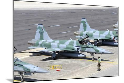 Line-Up of Brazilian Air Force F-5Em at Natal Air Force Base, Brazil-Stocktrek Images-Mounted Photographic Print