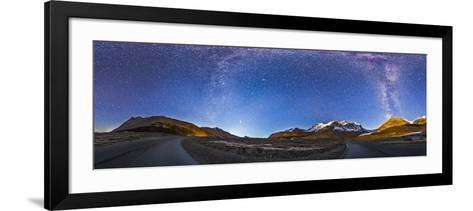 Panorama of the Columbia Icefields and Athabasca Glacier at Moonrise-Stocktrek Images-Framed Art Print