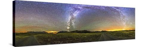 Panorama of the Milky Way and Night Sky at Waterton Lakes National Park, Canada-Stocktrek Images-Stretched Canvas Print