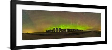 Aurora Borealis Behind Grain Bins on a Country Road in Alberta, Canada-Stocktrek Images-Framed Art Print
