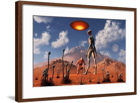Adam Meeting an Alien Reptoid Being-Stocktrek Images-Framed Art Print