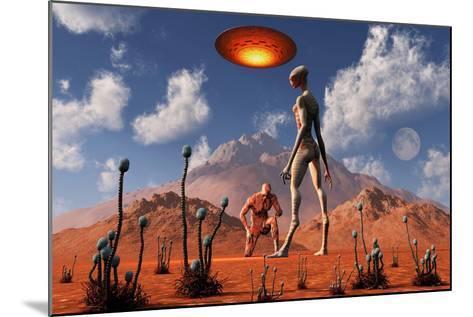 Adam Meeting an Alien Reptoid Being-Stocktrek Images-Mounted Art Print
