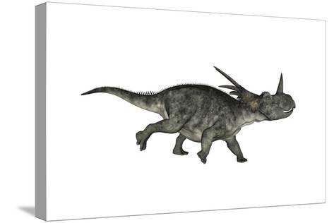 Styracosaurus Dinosaur Running-Stocktrek Images-Stretched Canvas Print