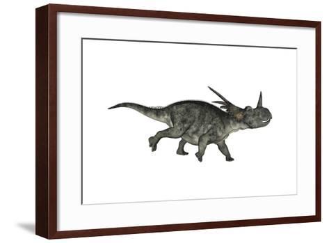 Styracosaurus Dinosaur Running-Stocktrek Images-Framed Art Print