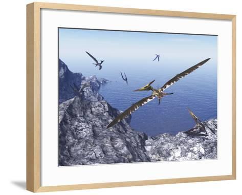 Pteranodon Birds Flying Above Coastal Rocks on a Beautiful Day-Stocktrek Images-Framed Art Print