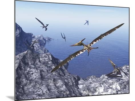 Pteranodon Birds Flying Above Coastal Rocks on a Beautiful Day-Stocktrek Images-Mounted Art Print