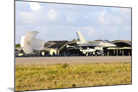 Chilean Air Force F-16A Landing with Parachute Brake at Natal Air Force Base-Stocktrek Images-Mounted Photographic Print