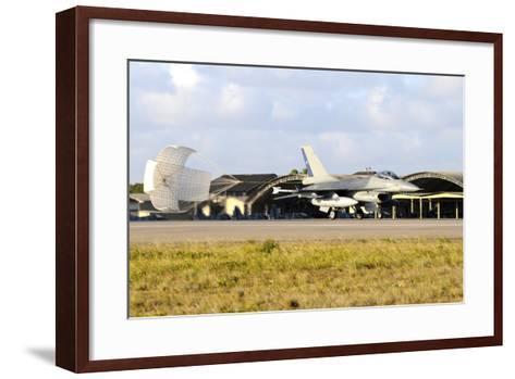 Chilean Air Force F-16A Landing with Parachute Brake at Natal Air Force Base-Stocktrek Images-Framed Art Print