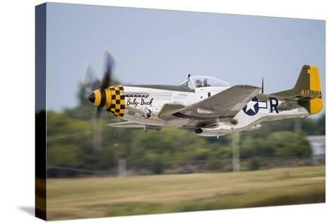 A P-51 Mustang Takes Off from Waukegan, Illinois-Stocktrek Images-Stretched Canvas Print