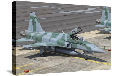 Brazilian Air Force F-5 at Natal Air Force Base, Brazil-Stocktrek Images-Stretched Canvas Print