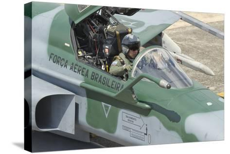 A Pilot Sitting in the Cockpit of a Brazilian Air Force F-5 Aircraft-Stocktrek Images-Stretched Canvas Print
