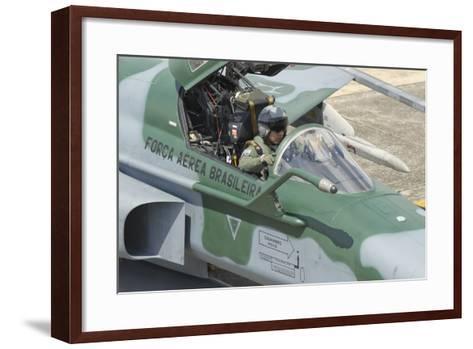 A Pilot Sitting in the Cockpit of a Brazilian Air Force F-5 Aircraft-Stocktrek Images-Framed Art Print