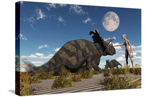 A Reptoid Using Telepathy to Communicate with a Albertaceratops Dinosaur-Stocktrek Images-Stretched Canvas Print