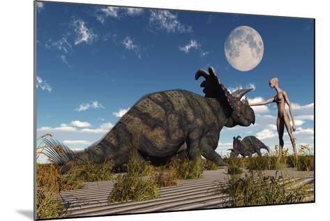 A Reptoid Using Telepathy to Communicate with a Albertaceratops Dinosaur-Stocktrek Images-Mounted Art Print