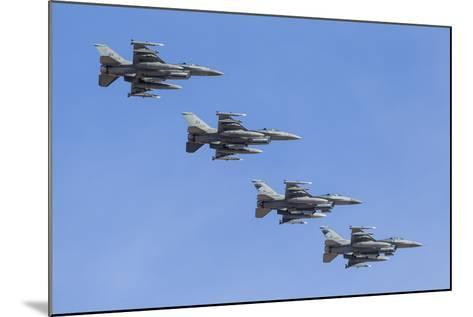 Four U.S. Air Force F-16C Fighting Falcons in Echelon Formation-Stocktrek Images-Mounted Photographic Print