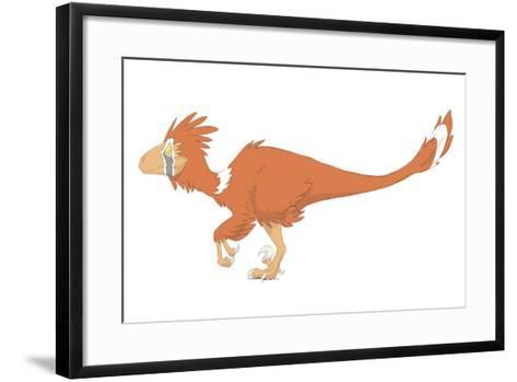 Deinonychus Pencil Drawing with Digital Color-Stocktrek Images-Framed Art Print