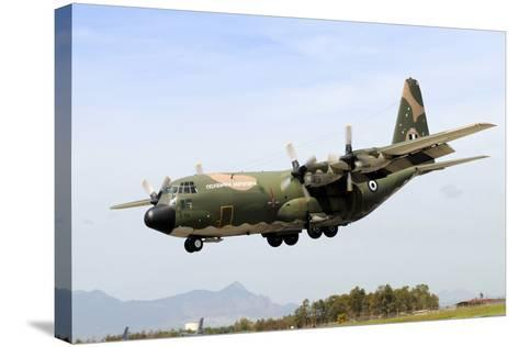 C-130 Hercules from the Hellenic Air Force Landing at Decimomannu Air Base, Italy-Stocktrek Images-Stretched Canvas Print