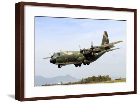 C-130 Hercules from the Hellenic Air Force Landing at Decimomannu Air Base, Italy-Stocktrek Images-Framed Art Print