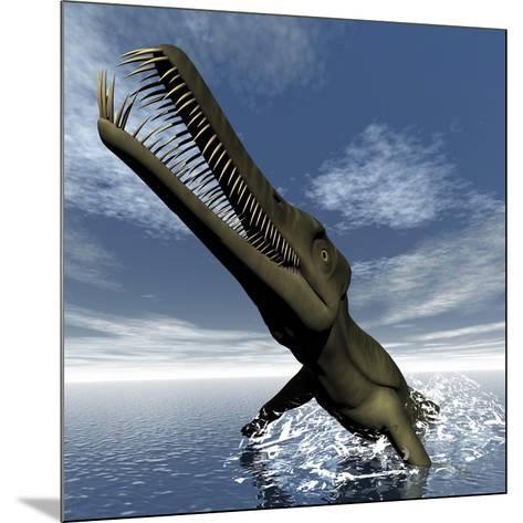 Mesosaurus Dinosaur Jumping Out of the Water-Stocktrek Images-Mounted Art Print