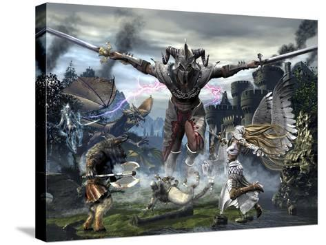 Titan Trying to Defeat a Legion of Magical and Powerful Creatures-Stocktrek Images-Stretched Canvas Print