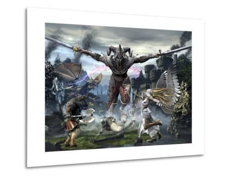 Titan Trying to Defeat a Legion of Magical and Powerful Creatures-Stocktrek Images-Metal Print