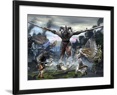 Titan Trying to Defeat a Legion of Magical and Powerful Creatures-Stocktrek Images-Framed Art Print