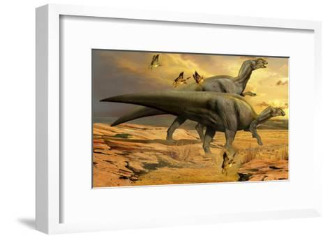 A Pair of Willinakaqe Dinosaurs from the Late Cretaceous of Argentina-Stocktrek Images-Framed Art Print