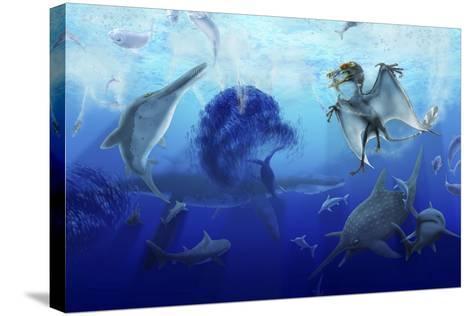 Early Jurassic European Pelagic Scene with Various Extinct Animals-Stocktrek Images-Stretched Canvas Print