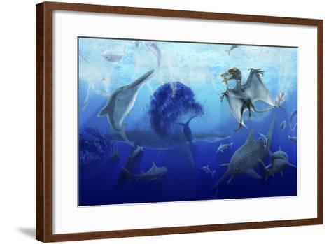 Early Jurassic European Pelagic Scene with Various Extinct Animals-Stocktrek Images-Framed Art Print