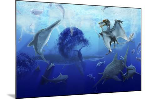 Early Jurassic European Pelagic Scene with Various Extinct Animals-Stocktrek Images-Mounted Art Print