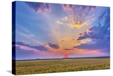 Prairie Sunset with Crepuscular Rays in Alberta, Canada-Stocktrek Images-Stretched Canvas Print