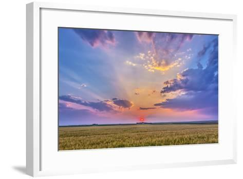 Prairie Sunset with Crepuscular Rays in Alberta, Canada-Stocktrek Images-Framed Art Print