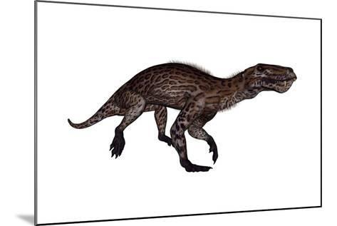 Lycaenops Dinosaur Walking, White Background-Stocktrek Images-Mounted Art Print