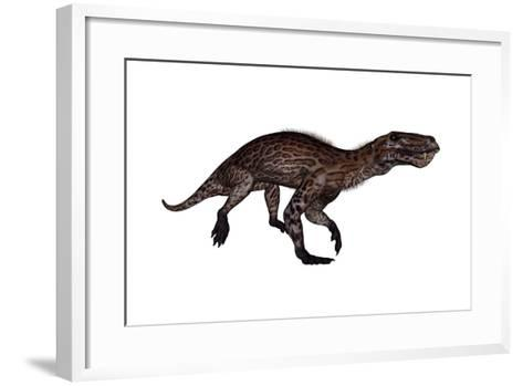 Lycaenops Dinosaur Walking, White Background-Stocktrek Images-Framed Art Print