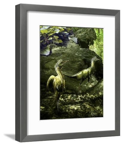 A Pair of Shuvuuia Dinosaurs Roaming a Prehistoric Environment-Stocktrek Images-Framed Art Print
