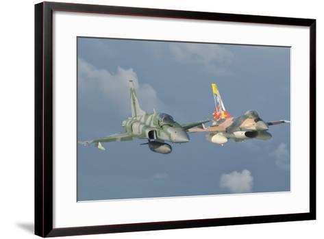 Venezuelan Air Force F-16 and Brazilian Air Force F-5 in Flight over Brazil-Stocktrek Images-Framed Art Print