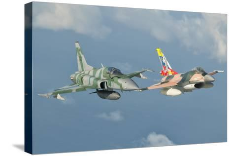 Venezuelan Air Force F-16 and Brazilian Air Force F-5 in Flight over Brazil-Stocktrek Images-Stretched Canvas Print