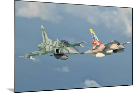 Venezuelan Air Force F-16 and Brazilian Air Force F-5 in Flight over Brazil-Stocktrek Images-Mounted Photographic Print