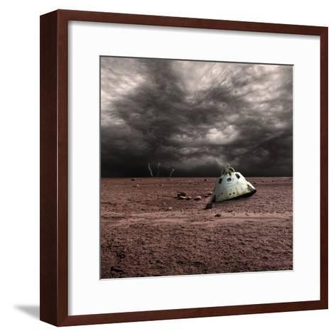 A Scorched Space Capsule Lies Abandoned on a Barren World-Stocktrek Images-Framed Art Print