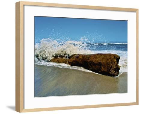 Waves Splashing over Driftwood on Beach-Stocktrek Images-Framed Art Print