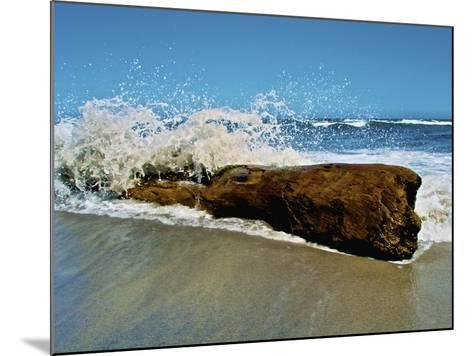 Waves Splashing over Driftwood on Beach-Stocktrek Images-Mounted Photographic Print