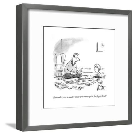 """""""Remember, son, a cheater never wins?except in the Super Bowl."""" - Cartoon-Christopher Weyant-Framed Art Print"""